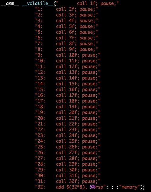 RSB Padding。32个虚假call来清空RSB