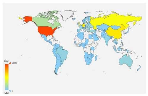 反射源的地址位置特征全球分布图