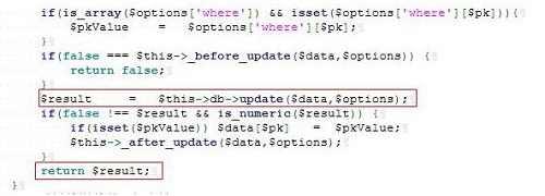 将$data变量传入update字段中