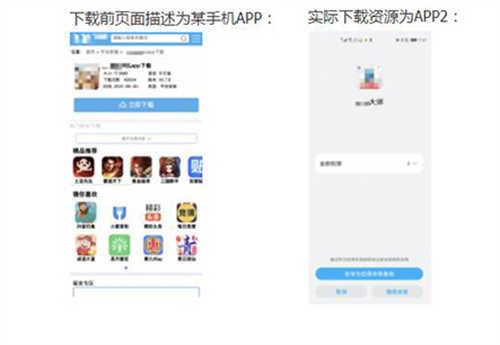 页面描述为APP1下载,但实际下载下来的是APP2,甚至是博彩或色情APP